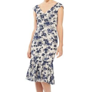 Gal Meets Glam Rosemary Navy Embroidered Dress